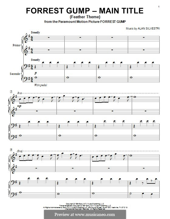 Forrest Gump Suite (Theme): For piano four hands (feather theme) by Alan Silvestri