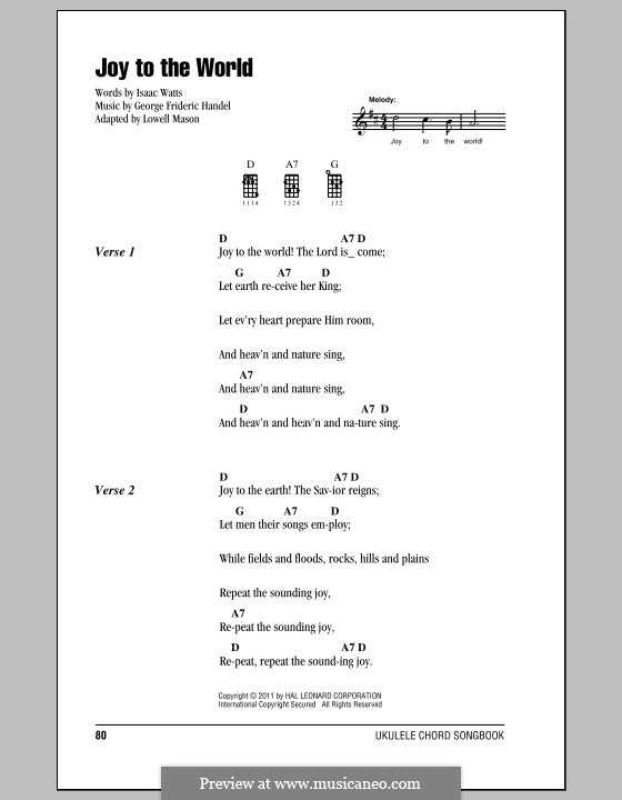 Joy to the World (Printable Scores): Für Ukulele by Georg Friedrich Händel