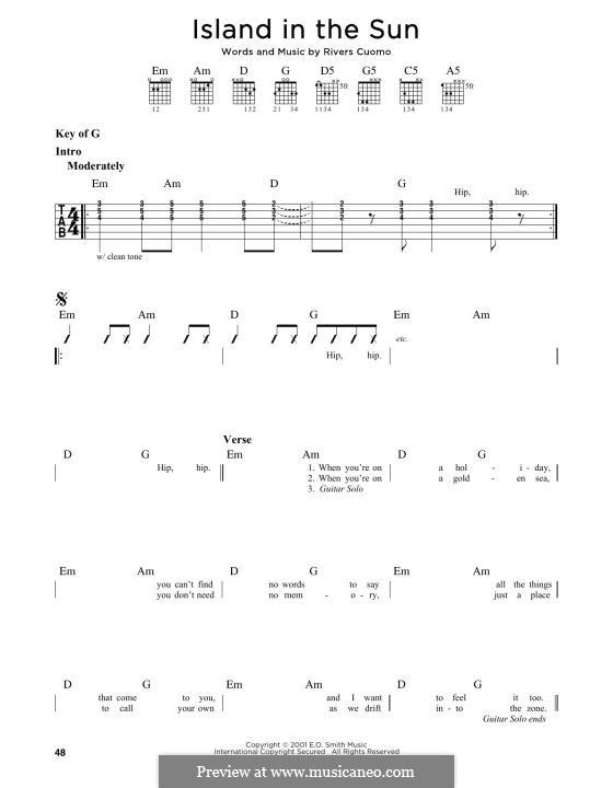Island in the Sun (Weezer): Für Gitarre by Rivers Cuomo
