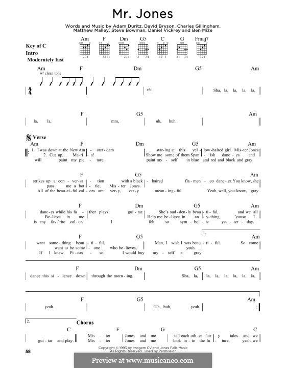 Mr. Jones (Counting Crows): Für Gitarre by Adam F. Duritz, David Bryson