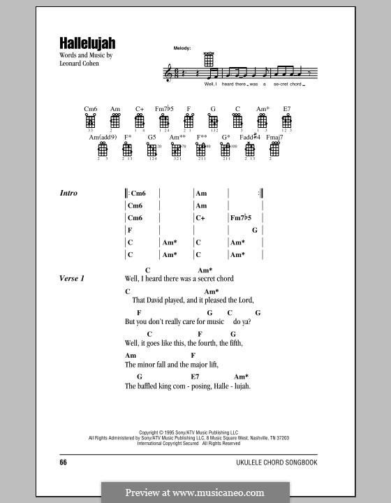 Hallelujah. Instrumental version: Für Ukulele by Leonard Cohen