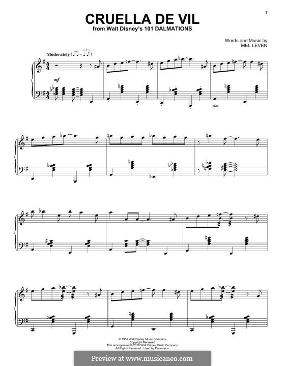 Cruella de Vil (from 101 Dalmatians): Für Klavier by Mel Leven
