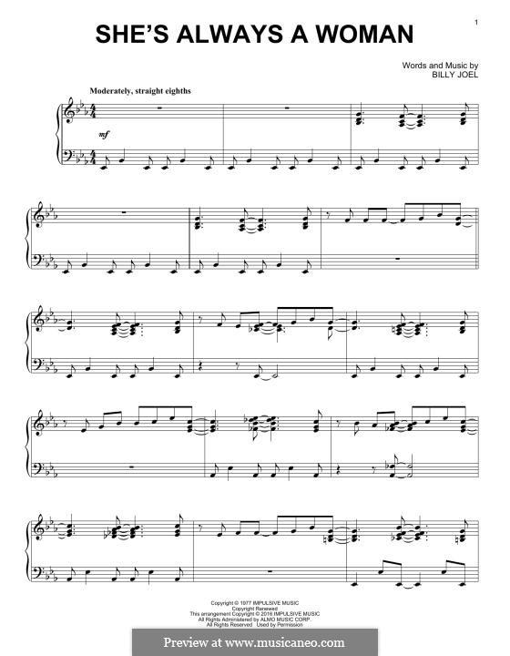 She's Always a Woman: Für Klavier by Billy Joel