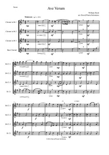 Ave Verum: For three clarinets and bass clarinet by William Byrd
