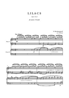 Twelve Romances, Op.21: No.5 Lilacs, for piano four hands by Sergei Rachmaninoff