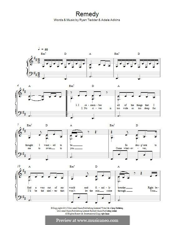 Remedy: Für Klavier by Adele, Ryan B Tedder