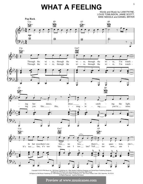 What a Feeling (One Direction): Für Stimme und Klavier (oder Gitarre) by Jamie Scott, Louis Tomlinson, Liam Payne, Daniel Bryer, Mike Needle