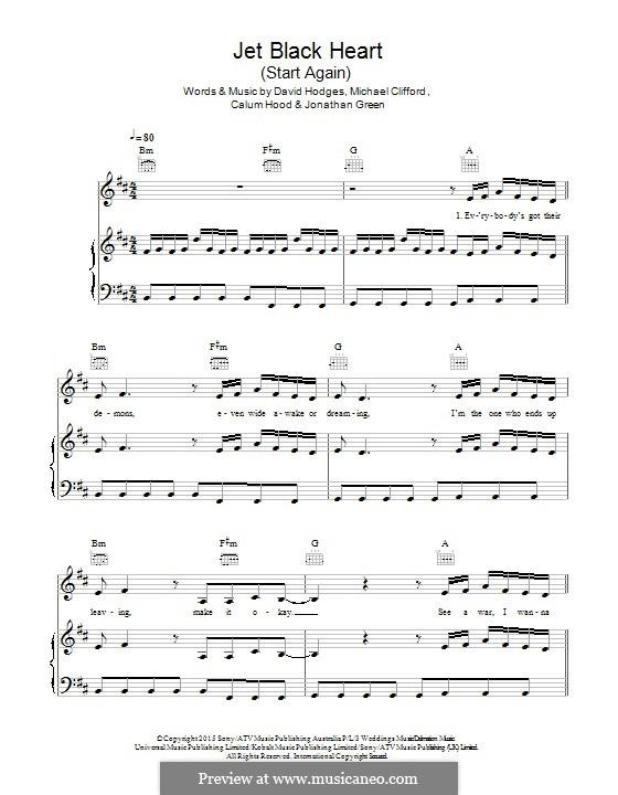 Jet Black Heart / Start Again (5 Seconds of Summer): Für Stimme und Klavier (oder Gitarre) by David Hodges, Michael Clifford, Calum Hood, Jonathan Green
