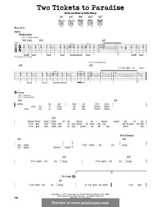 Two Tickets to Paradise: Für Gitarre by Eddie Money