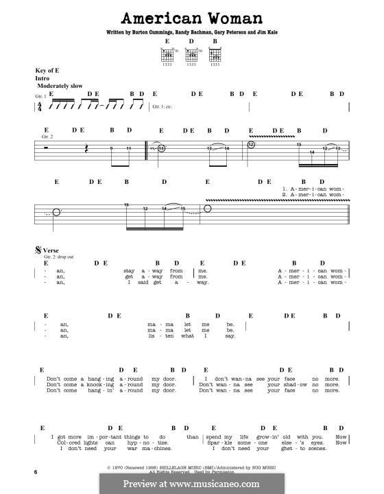 American Woman (Lenny Kravitz): Für Gitarre by Burton Cummings, Garry Peterson, Jim Kale, Randy Bachman