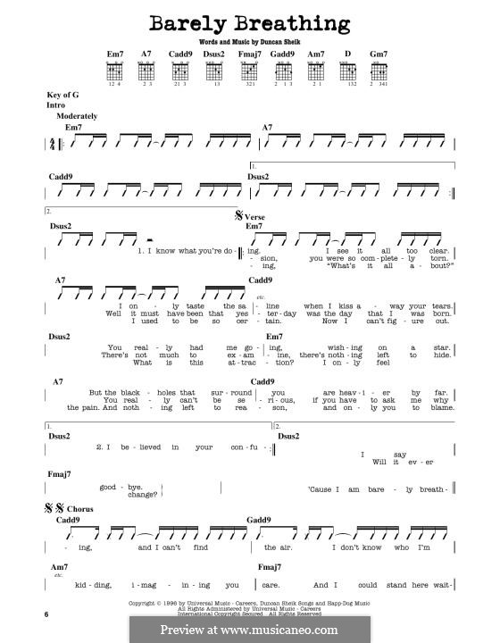 Barely Breathing: Für Gitarre by Duncan Sheik