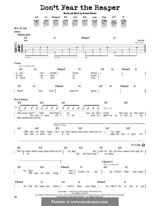 Don't Fear / The Reaper (Blue Oyster Cult): Für Gitarre by Donald Roeser
