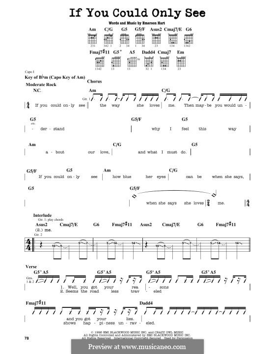 If You Could Only See (Tonic): Für Gitarre by Emerson Hart