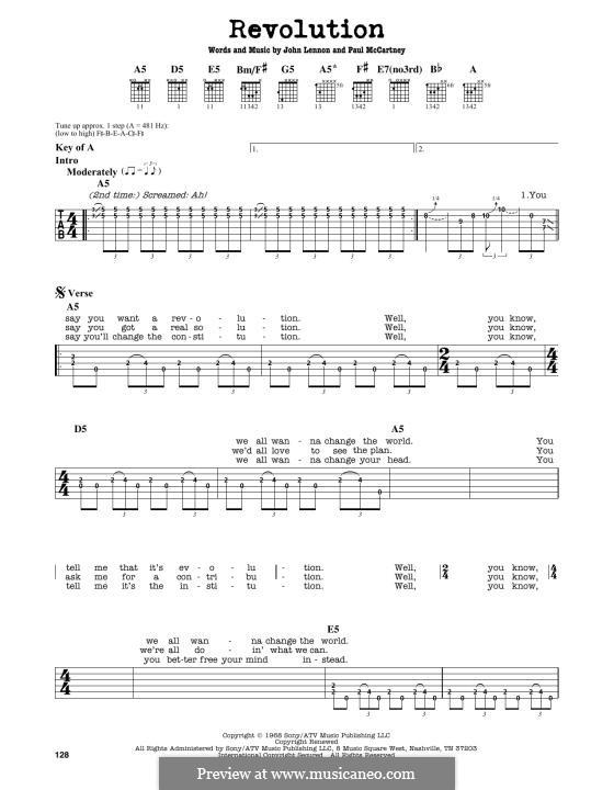 Revolution (The Beatles): Für Gitarre by John Lennon, Paul McCartney