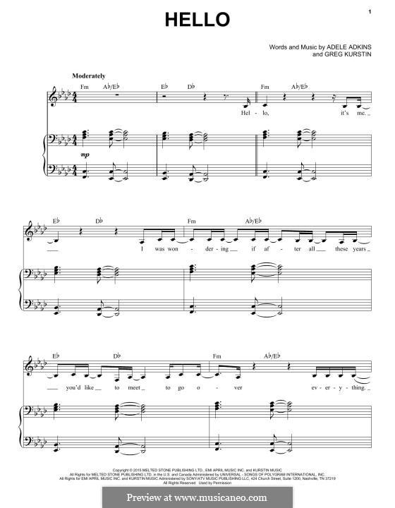 Hello: Für Stimme und Klavier by Adele, Greg Kurstin