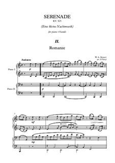 Romanze: Für Klavier, vierhändig by Wolfgang Amadeus Mozart
