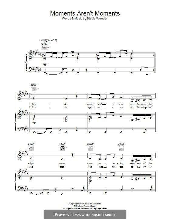 Moments aren't Moments: Für Stimme und Klavier (oder Gitarre) by Stevie Wonder