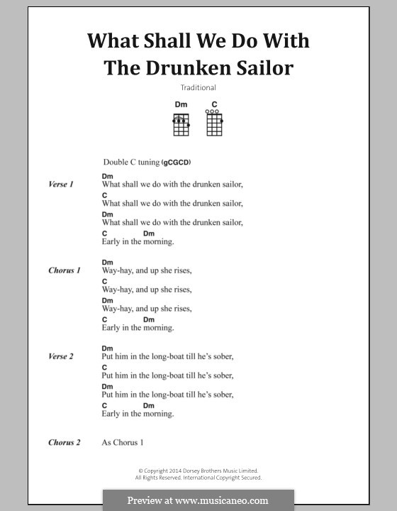What Shall We Do with the Drunken Sailor: Text und Akkorde by folklore