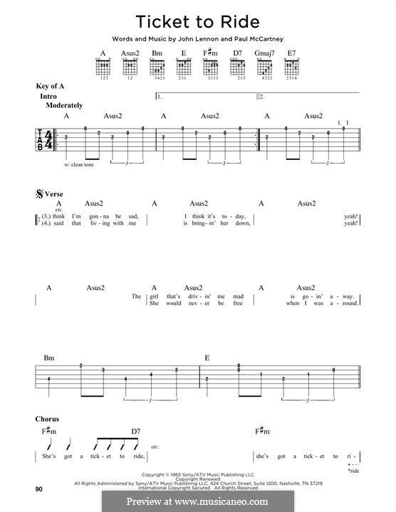 Ticket to Ride (The Beatles): Für Gitarre by John Lennon, Paul McCartney