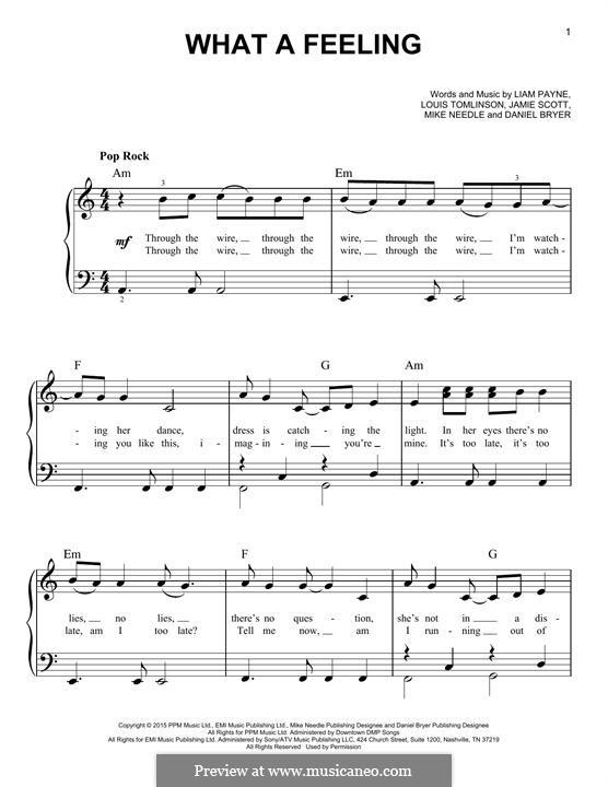 What a Feeling (One Direction): Für Klavier by Jamie Scott, Louis Tomlinson, Liam Payne, Daniel Bryer, Mike Needle