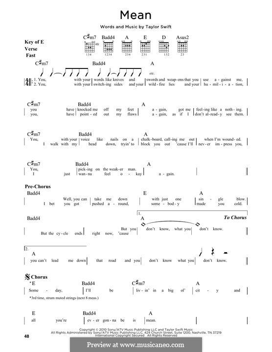 Mean: Für Gitarre by Taylor Swift
