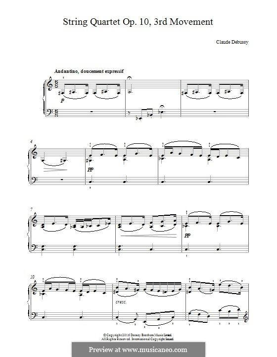 Streichquartett No.1 in g-Moll, L.85 Op.10: Teil III. Version für Klavier by Claude Debussy