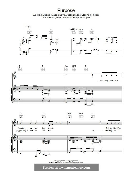 Purpose: Für Stimme und Klavier (oder Gitarre) by Jason Boyd, Justin Bieber, Eben Wares, Scott Braun, Stephen Philibin, Jeremy Snyder