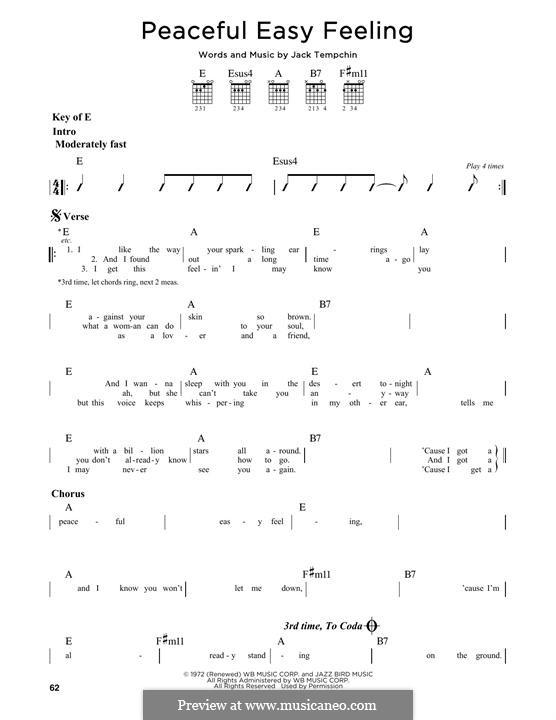 Peaceful Easy Feeling (The Eagles): Für Gitarre by Jack Tempchin