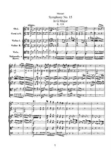 Sinfonie Nr.15 in G-Dur, K.124: Sinfonie Nr.15 in G-Dur by Wolfgang Amadeus Mozart