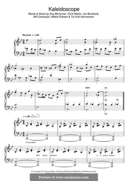 Kaleidoscope (Coldplay): Für Stimme und Klavier (oder Gitarre) by Chris Martin, Guy Berryman, Jonny Buckland, Mikkel Storleer Eriksen, Will Champion