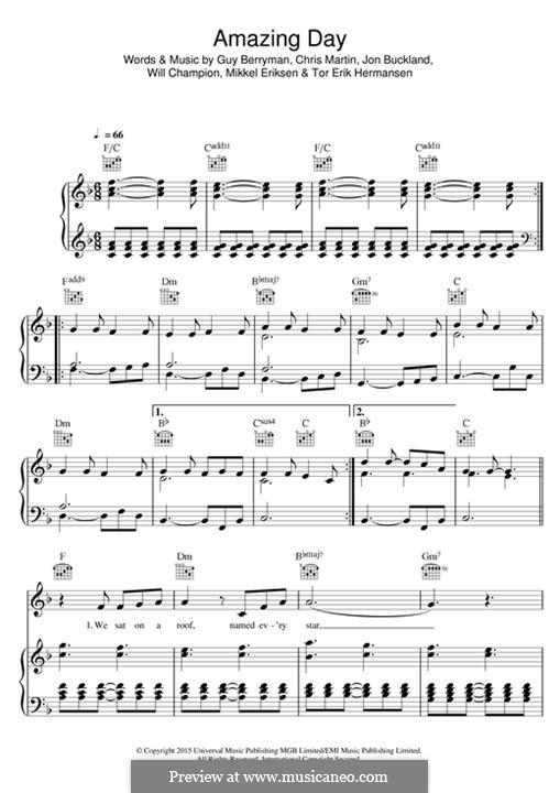 Amazing Day (Coldplay): Für Stimme und Klavier (oder Gitarre) by Chris Martin, Guy Berryman, Jonny Buckland, Mikkel Storleer Eriksen, Will Champion