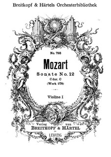 Kirchensonate für Orchester Nr.14 in C-Dur, K.278: Violinstimme I by Wolfgang Amadeus Mozart