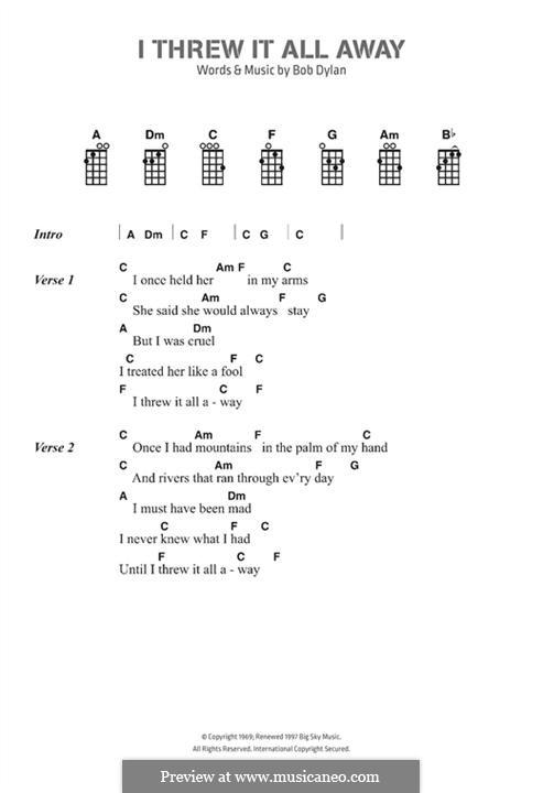 I Threw It All Away: Text und Akkorde by Bob Dylan