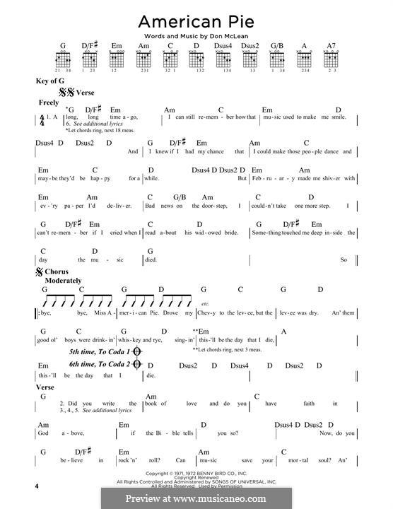 American Pie (Madonna): Für Gitarre mit Tabulatur by Don McLean