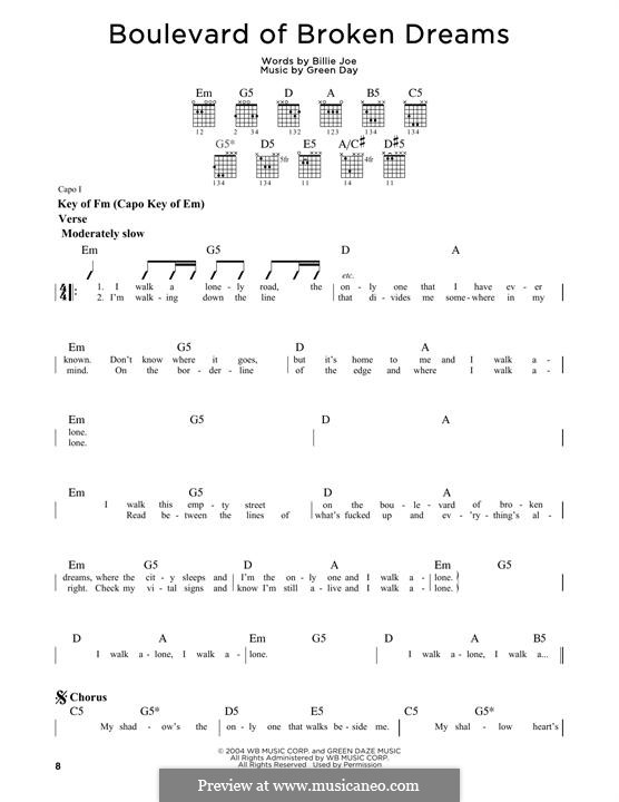 Boulevard of Broken Dreams (Green Day): Für Gitarre by Billie Joe Armstrong, Tré Cool, Michael Pritchard