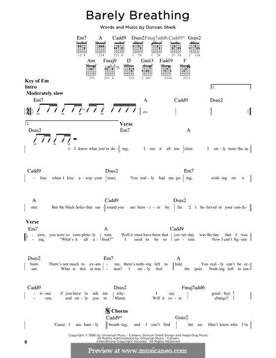 Barely Breathing: Für Gitarre mit Tabulatur by Duncan Sheik