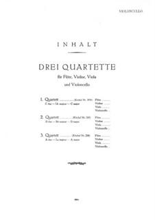 Drei Quartette ür Flöte und Streicher, K.285b, 285, 298: Cellostimme by Wolfgang Amadeus Mozart