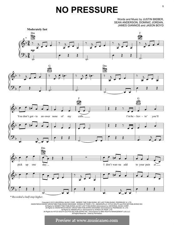 No Pressure: Für Stimme und Klavier (oder Gitarre) by Jason Boyd, Justin Bieber, Sean Anderson, Dominic Jordan, James Giannos