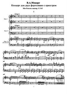 Konzert für zwei Klaviere und Orchester Nr.10 in Es-Dur, K.365: Bearbeitung für drei Klaviere by Wolfgang Amadeus Mozart