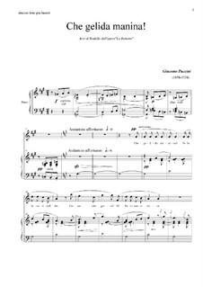 Che gelida manina: For tenor and piano by Giacomo Puccini