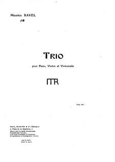 Klaviertrio in a-Moll, M.67: Vollpartitur, Stimmen by Maurice Ravel