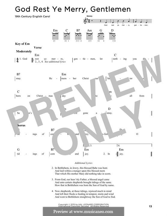 God Rest You Merry, Gentlemen (Printable Scores): Für Gitarre mit Tabulatur by folklore