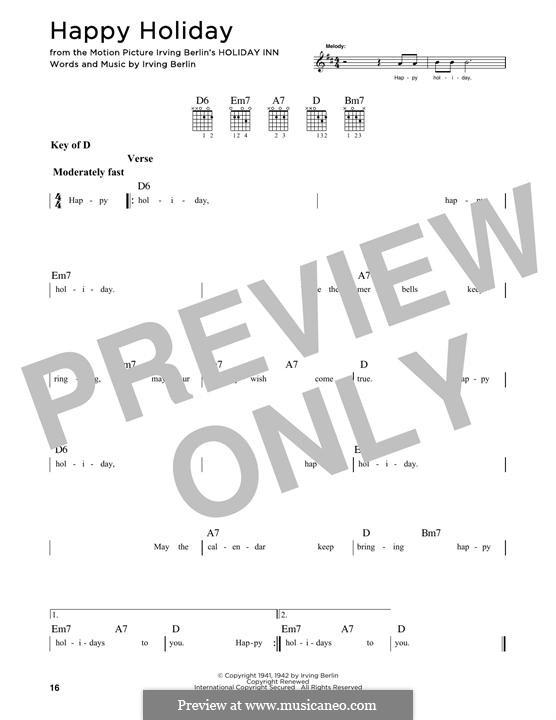 Happy Holiday: Für Gitarre mit Tabulatur by Irving Berlin