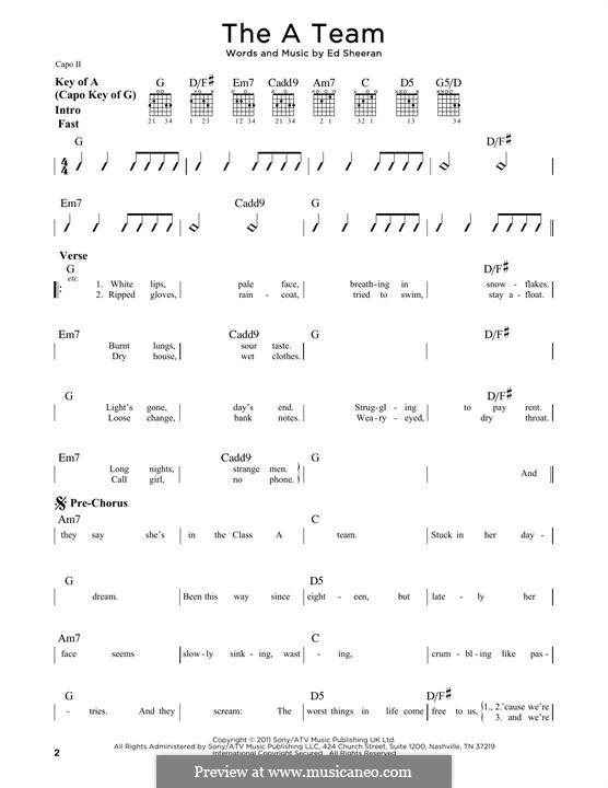The a Team: Für Gitarre mit Tabulatur by Ed Sheeran