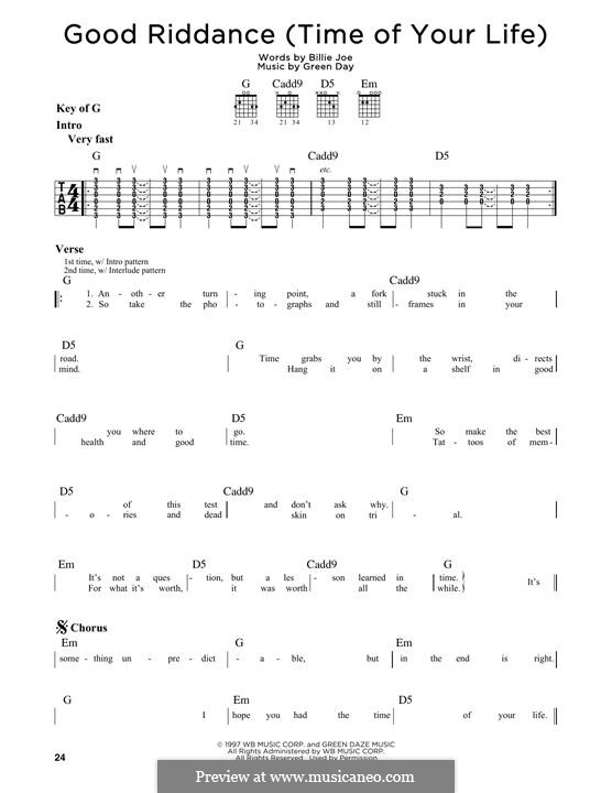 Good Riddance (Time of Your Life): Für Gitarre mit Tabulatur by Billie Joe Armstrong, Tré Cool, Michael Pritchard
