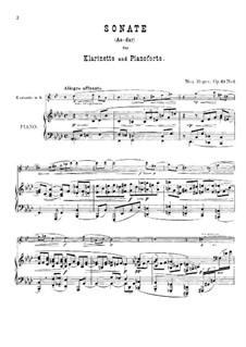 Zwei Sonaten für Klarinette (oder Bratsche) und Klavier, Op.49: Sonate Nr.1 in As-Dur by Max Reger
