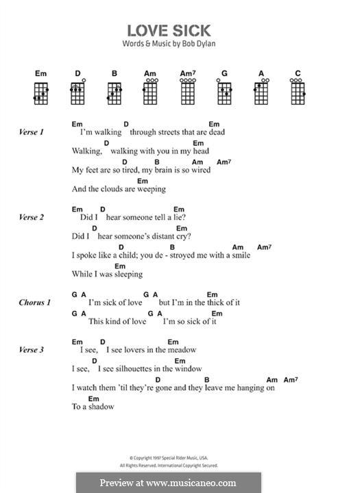 Love Sick: Text und Akkorde by Bob Dylan