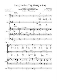 Lord, in this Thy Mercy's Day - Lenten Anthem: Für Stimmen und Orgel by Johann Crüger