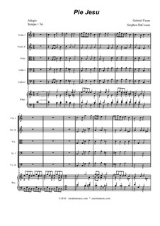 Requiem in d-Moll, Op.48: Movement IV 'Pie Jesu', for string orchestra and piano by Gabriel Fauré