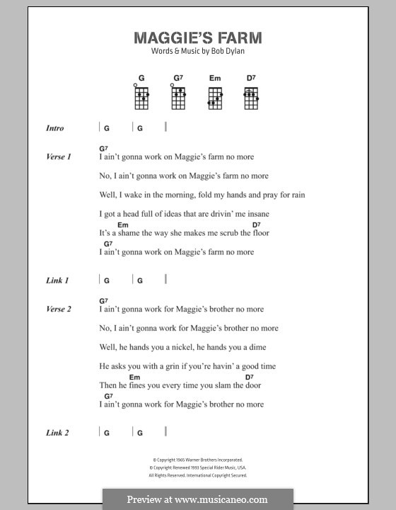 Maggie's Farm: Text und Akkorde by Bob Dylan
